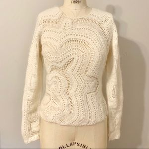 Angora Ivory Crocheted Sweater